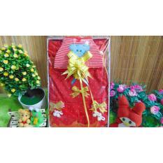 kembarshop - paket kado bayi - baby gift set - kado lahiran - dress plus topi n sepatu rajut merah