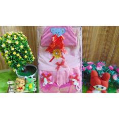 kembarshop - paket kado bayi - baby gift set - kado lahiran - dress plus topi n sepatu rajut pink
