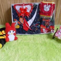 Promo Kembarshop Paket Kado Bayi Setelan Baju Rompi Dasi Merah Plus Set Topi Sepatu Rajut Kembarshop