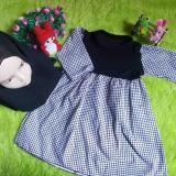 Toko Kembarshop Set Gamis Anak Bayi Motif Monokrom Houndstooth Plus Hijab Kembarshop