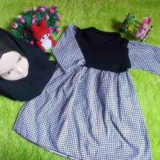 Daftar Harga Kembarshop Set Gamis Anak Bayi Motif Monokrom Houndstooth Plus Hijab Kembarshop