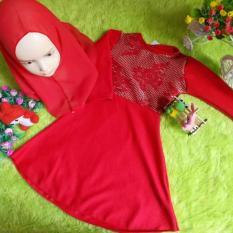 kembarshop - Set Gamis Bayi Wafel 1-2 th Eksklusif Merah Brocade Plus Khimar