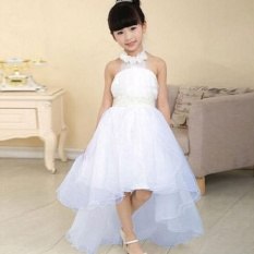 KID Girl Long Pernikahan Putri Bridesmaid Bowknot Lapisan Baju Putih 3-9Years-Intl