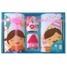Kiddy Set Handuk Bayi / Towel Gift Set / Paket Handuk Saputangan Bayi  - CORAK CEWEK