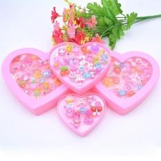 Anak-anak Aneka Cute Resin Acrylic Kartun Cincin Mainan dengan Kotak Penyimpanan Plastik Pesta Nikmat Girls Hadiah (Gaya Acak) Warna: 24 PCS/Kotak Berbentuk Hati-Intl