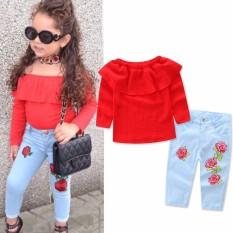 Anak Bayi Gadis T-Shirt Tops Blus + Celana Jeans Denim Pakaian Pakaian Set-Intl