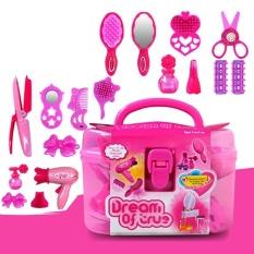 Anak-anak Mainan Salon Kecantikan Beauty Case dengan Pengering Rambut Sisir Botol Parfum Lipstik Gadis Berpura-pura Play Toys Set-Intl