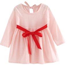 Harga Kids Girls Long Sleeve Linen Spring Summer Princess Dress Intl New