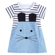 Beli Anak Anak Gadis Long Sleeve Striped Denim Kaos Casual Dress Intl Cicil