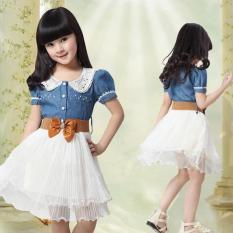 Anak Perempuan Putri Denim Lengan Pendek Kemeja Kain Tule Gaun Mini 120 Saran7 8 Tahun Internasional Tiongkok Diskon 50