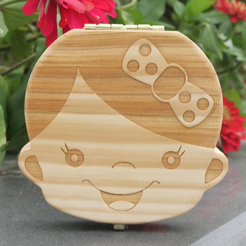 Gigi Anak Kotak Lanugo Rambut Menyimpan Gigi Susu Kotak Penyimpanan Kayu untuk Boy Girl Hadiah-Intl