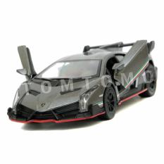 Lamborghini Veneno Silver Gray - Diecast Miniatur Mobil Mobilan Sport Mainan Anak Cowok Kinsmart