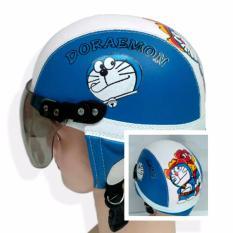 KiosStore - Helm Anak Lucu Unik Motif Doraemon Usia 1 - 4 Tahun Biru Putih