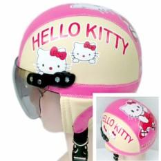 Kiosstore - Helm Anak Lucu Unik Motif Hellow Kity Usia 1 - 4 Tahun Cream Pink By Kiosstore.