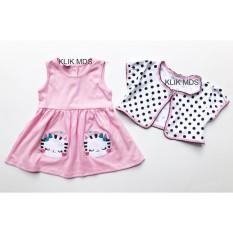 Klik Mds Baju Anak Bayi Perempuan Dress Dengan Kardigan Motif Twins Kitty