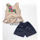 Spesifikasi Klik Mds Baju Anak Perempuan Setelan Atasan Salur Bordir Bunga Dan Celana Pendek New Fashion