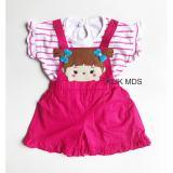 Promo Toko Klik Mds Baju Anak Perempuan Setelan Kaos Dan Jumpsuit Overall Salur Motif Tsum Kepang