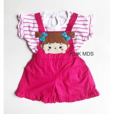 Harga Klik Mds Baju Anak Perempuan Setelan Kaos Dan Jumpsuit Overall Salur Motif Tsum Kepang Merk Klik Mds