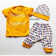 Klik Mds Baju Anak Setelan Atasan dan Celana Free Topi Motif Karakter Thank's Mommy