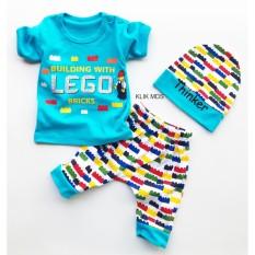 Klik Mds Baju Anak Setelan Atasan dan Celana Motif Karakter Lego Bricks - free topi