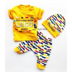 Klik Mds Baju Anak Bayi Setelan Atasan dan Celana Motif Karakter Bricks - free topi