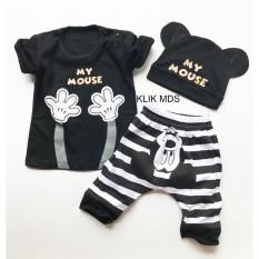 Klik Mds Baju Anak Setelan Atasan dan Celana Motif Karakter Mickey My Mouse Free Topi