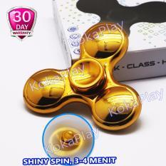 KokaPlay Fidget Spinner Metal Hand Tri Spinner Metallic Chrome Colour Stress Relieve Toy Mainan Fidget Putar
