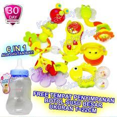 KokaPlay Premium Baby Rattle 6 in 1 Dot Play Set With Milk Bottle Mainan Anak Bayi Kerincingan Soother Teether Gigitan Bayi + Free 1 Tempat Botol Susu