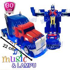 KokaPlay Robot Super Change Truck 2 in 1 Bump And Go Transformers Optimus Prime Mainan Anak Mobil Truck Robot Berubah Musik Lampu
