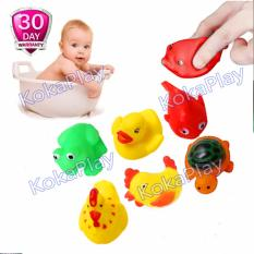 KokaPlay Squeaky 6 in 1 Different Floating Duck Animals Ocean Rubber Baby Bath Bathing Toys Mainan