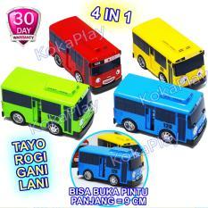 KokaPlay Tayo Little Bus 4 in 1 Set Open Slide Door Big Size Pullback Action Mainan Anak Edukasi Bis Tayo Buka Pintu Lani Gani Rogi