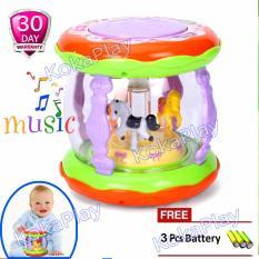 KokaPlay Wonderland Merry Go Round Music Mini Drum Baby Toys Mainan Drum Set Mini Musik Piano Lampu Lagu Bayi Anak Komidi Putar + Free 3 Baterai