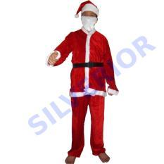 Kostum Baju Pakaian Natal Santa Santaclaus Sinterklas Dewasa Beludru Simple