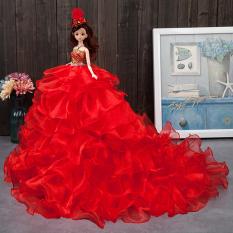 Barbie Boneka Boneka Putri Miniatur Gaun Pengantin Kotak Hadiah Ukuran Besar 9e2101a13a