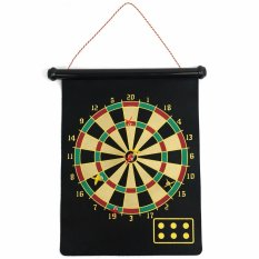 LaCarLa Double Sided Hanging Magnetic Dart Board Set Game 15 Inch with 6 Magnetic Arrow - Hitam