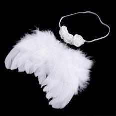 1 Set Bayi Baru Lahir Bayi Bulu Sayap Malaikat Dan Bando Karet Rambut Foto Kostum Pakaian 3# LALANG (putih) - Internasional