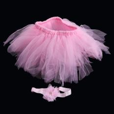 Diskon Besarbayi Newborn Princess Tutu Rok Ikat Kepala Set Bayi Kostum Pakaian Fotografi Props Merah Muda Lalang Intl