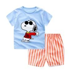 Jual Lalang Balita Set Boys Gorls Kartun T Shirt Dan Celana Pendek Biru Muda Intl Grosir