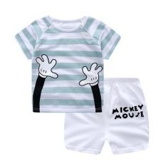 LALANG Set Bayi Anak Laki-Laki Motif Kartun T-Shirt + Celana Pendek (Putih + Biru Muda)