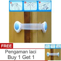 Lanjarjaya Safety Lock / Kunci Pengaman Tambahan Untuk Laci, Lemari, Kulkas, DLL - Biru + Buy 1 Get 1