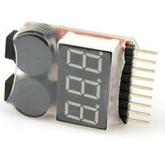 Led Lipo Voltage Indicator Checker Tester Low Voltage Alarm 1S-8S - E9E9D9 - Original Asli