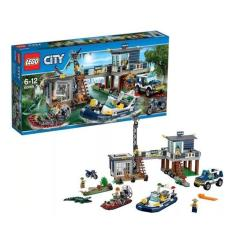 LEGO City - 60069 Swamp Police Station Set Building Toy Cop Motor Boat Car Kid Toys Bike Motorcar Jeep Town Croocks Pursuit Motorcycle Alligator Minifigures Children Play Bricks Game Promo Original