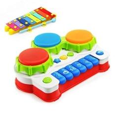 Cinta & Mini Ulang Tahun Hadiah Piano Musik Keyboard Tangan Drum Mainan dengan Lampu Blitz untuk Anak-anak Early Learning-Internasional