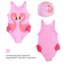 Lovely Girls Kids Percetakan Satu-piece Swimsuit Mandi Beach Swimwear dengan Hat (Pink S)-Intl