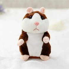 Lovely Talking Plush Hamster Toy, Can Change Voice, Record Sounds, Nod Head or Walk, Early Education for Baby, Different Size for Choice Style:deep brown and nodding Height:18cm - intl