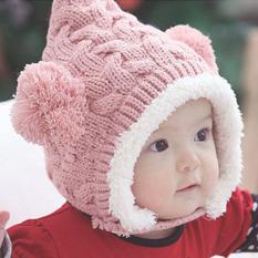 Musim Dingin Yang Indah Hangat dan Anak With A Bola Ganda Telinga Bayi Perempuan Wol Merajut Topi Beanie (Berwarna Merah Muda)