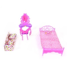 LuckyGirl Store Fashion Cute Barbie Princess Girl Dolls House Bedroom Furniture Toy Set Dresser+Sofa+Bed - intl