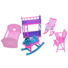 LumiParty Dolls Accessories Pretend Play Furniture Set Toys for Barbie Dolls as Xmas Gifts for Kids Style:Baby room - intl