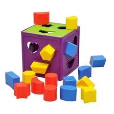 LumiParty Anak Usia Dini Belajar Mainan Bayi Activity CUBE-Plastik Geometris Square Shape Sorter Cube, Pengenalan Warna Intelijen Mainan Bata/Mainan Brocks-Intl