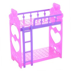 LumiParty Lanlan Cute 3.5 Inch Plastic Double Bed Frame For Kelly Barbie Doll Bedroom Furniture Accessories Purple Pink Or Pink Yellow Color Random - intl